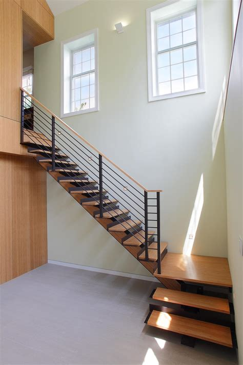 contemporary staircase  landing hgtv