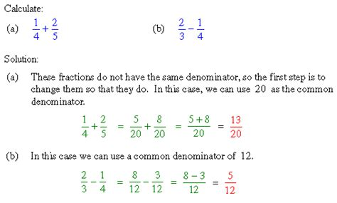 unit 20 section 2 addition and subtraction of fractions