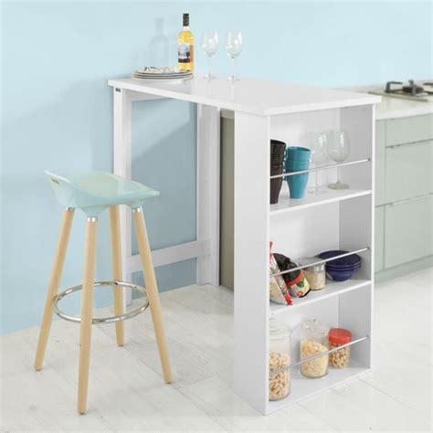 table de cuisine haute avec rangement table cuisine avec rangement table de bar design blanc
