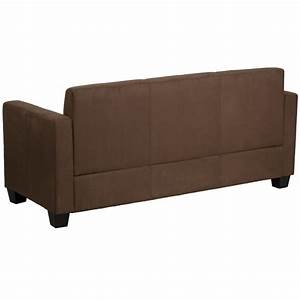 Mfo primo collection chocolate brown microfiber sofa for Chocolate brown microfiber sectional sofa