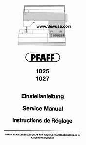 Pfaff 1025 1027 Service Manual