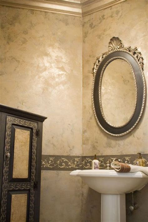 Bathroom Wall Painting Ideas by Golden Venetian Plaster With Stencil The Color By