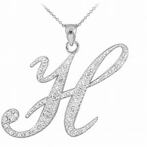 14k white gold letter script quothquot diamond initial pendant for Letter pendant necklace white gold
