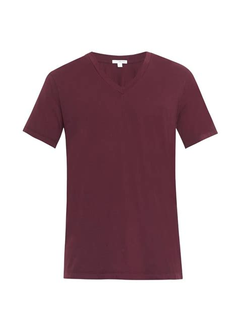 burgundy t shirt s lyst v neck t shirt in purple for