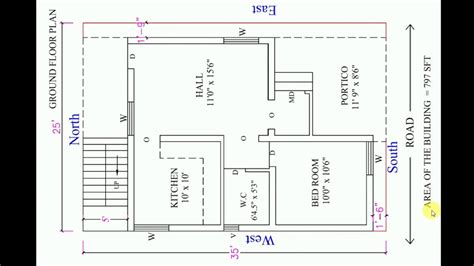 25x35 house plan east facing 2019 YouTube