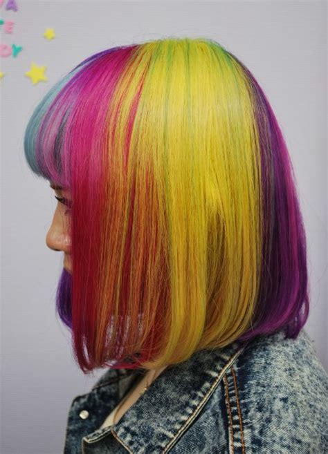 short straight rainbow bob hairstyle  blunt bangs