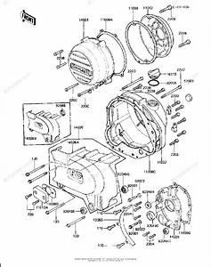 Kawasaki Motorcycle 1981 Oem Parts Diagram For Engine Covers  Kz750 H3