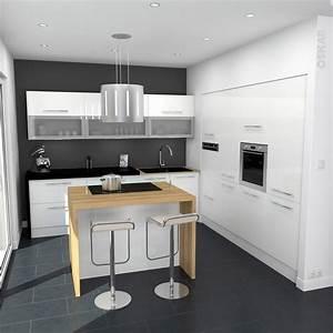 Petit Ilot Cuisine : cuisine blanche moderne fa ade stecia blanc brillant ~ Premium-room.com Idées de Décoration