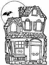 Haunted Halloween Coloring Pages Drawing Houses Clipartmag sketch template