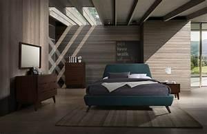 Modrest Lewis Mid-century Modern Teal  U0026 Walnut Bed