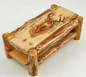 Log Coffee Table, Cabin Furniture, Hand Carved, Custom