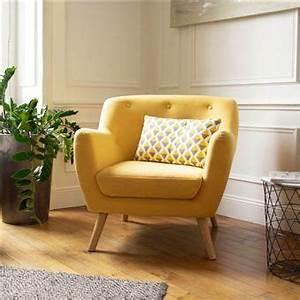 Fauteuil Scandinave Jaune : 50 sur fauteuil scandinave en tissu jaune moutarde ~ Melissatoandfro.com Idées de Décoration