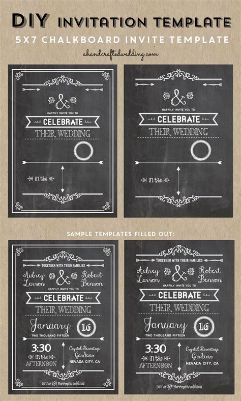 Awesome Chalkboard Wedding Invitation Template Free DIY