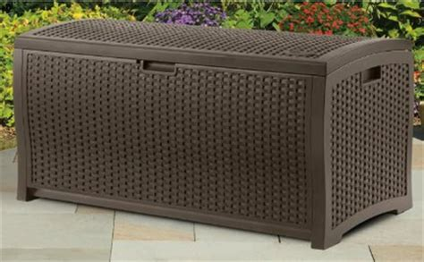 suncast wicker 73 gallon resin deck box suncast dbw7300 mocha wicker resin deck box 73 gallon
