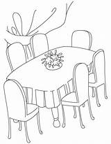 Dining Coloring Table Pages Clipart Drawing Dinner Kitchen Printable Cliparts Clip Furniture Drawings Library Quilt Coloringtop sketch template