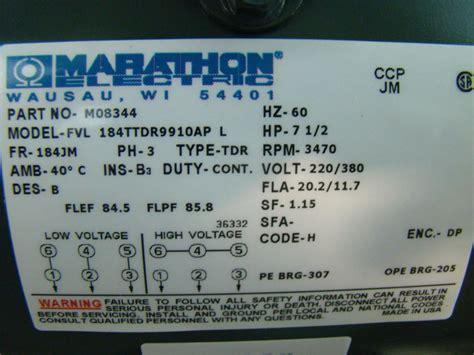 Marathon 2hp Electric Motor Wiring Diagram by Marathon Electric Inverter Duty 7 1 2hp Electric Motor
