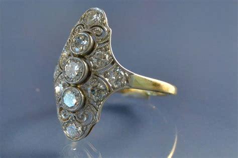 bijoux deco anciens bijoux anciens bague marquise d 233 co diamants bague vendue