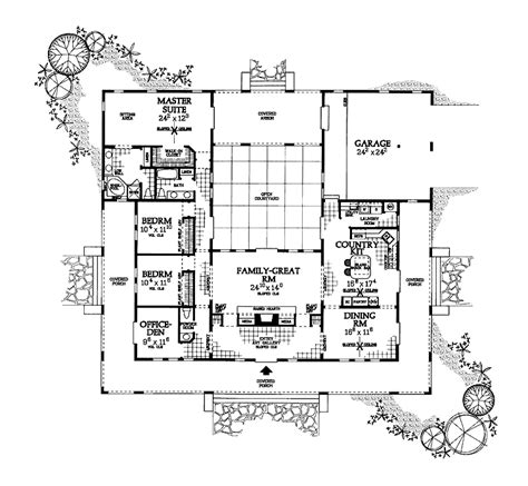 shaped house plan  courtyard floor plans pinterest