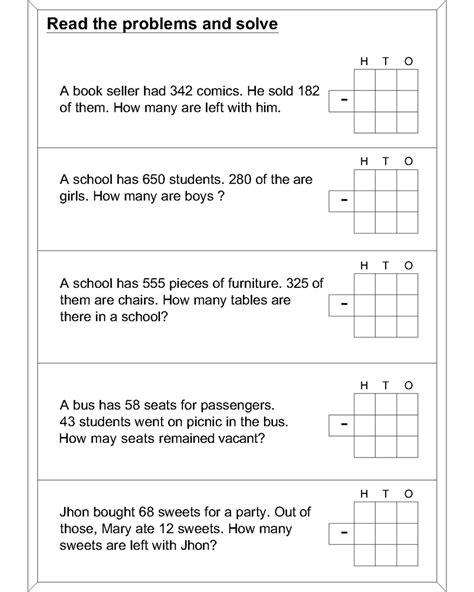 math worksheets subtraction word problem of math best