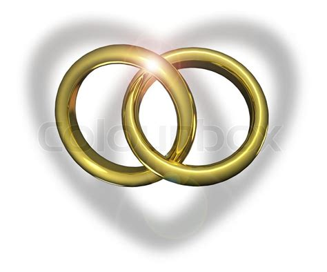 golden wedding rings linked  stock photo colourbox