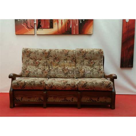 canapé clic clac design canapé lit 3 places tissu fleuri accoudoirs bois n131