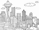 Needle Coloring Seattle Space Template Sheet Illustrated sketch template