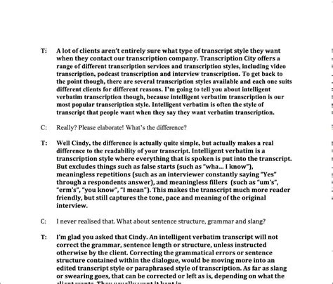 resume format transcriptionist