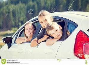 Family Sitting In The Car Looking Out Windows Stock Photo ...