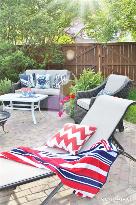 a white and blue coastal patio