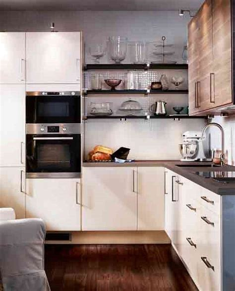 White Small L Shaped Kitchen Layout Combine Wall Mounted