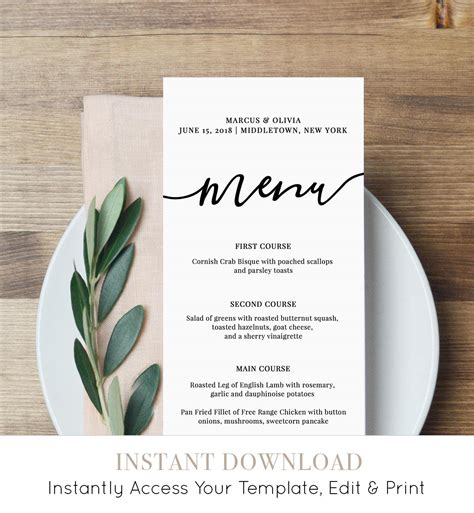 menu card template menu card template printable wedding menu modern calligraphy