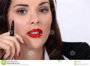 Woman Wearing Bright Red Lipstick