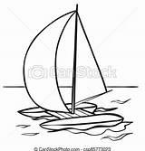Catamaran Sails Sketch Coloring Vector Object Isolated Cartoon Illustratie Schets Boek Zeilen Clipart Achtergrond Vrijstaand Voorwerp Kleuren Katamaran Spotprent Witte sketch template