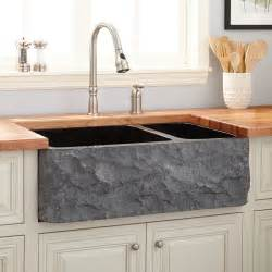 33 quot polished granite 70 30 offset double bowl farmhouse