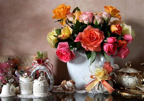 papeis de parede natureza morta rosas vaso flores baixar