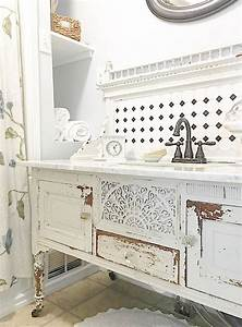 29 vintage and shabby chic vanities for your bathroom With idee deco shabby chic