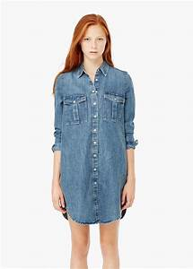 Lyst mango denim shirt dress in blue for Robe jean mango