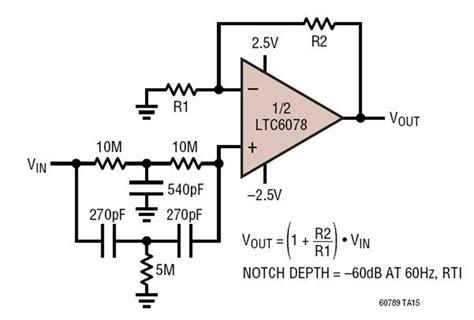 notch filter design ltc6078 60hz notch filter circuit collection analog devices