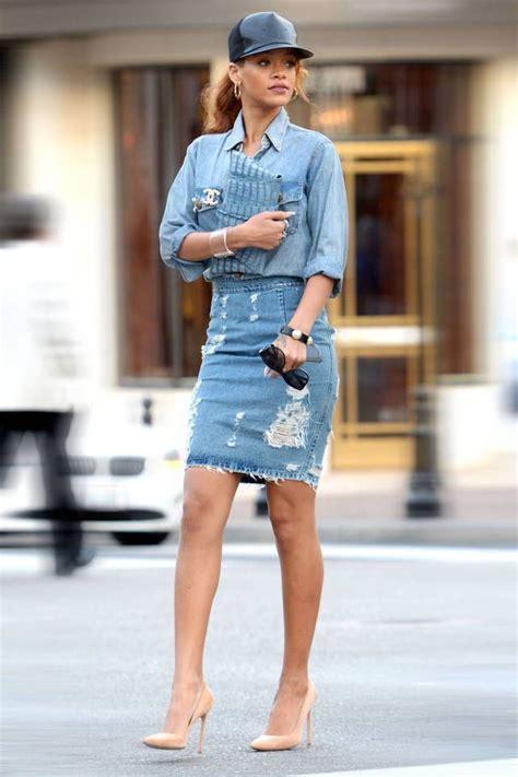 Denim Skirts Outfit Ideas 2018 | FashionTasty.com