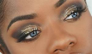 Makeup Tutorial | Dramatic Gold Glitter Smokey Eye - YouTube
