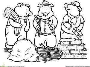 Color the Three Little Pigs Three little pigs Fairy