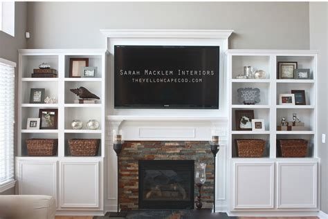 Built In Bookcase Around Fireplace by The Yellow Cape Cod Fireplace Makeover