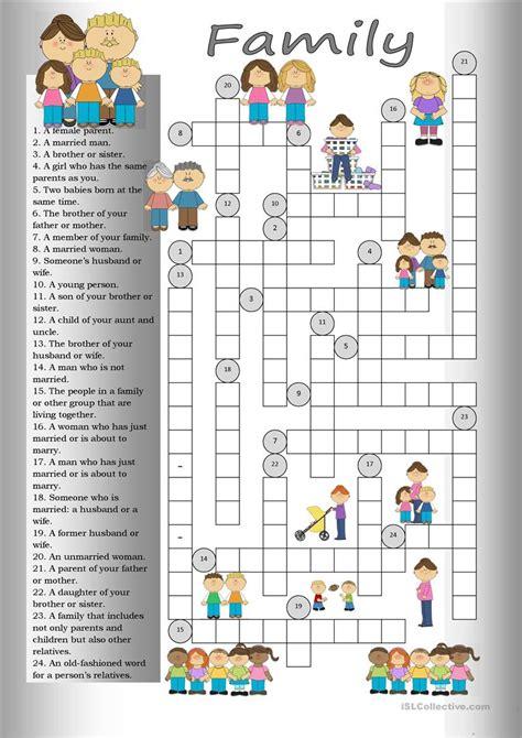 crossword family worksheet free esl printable