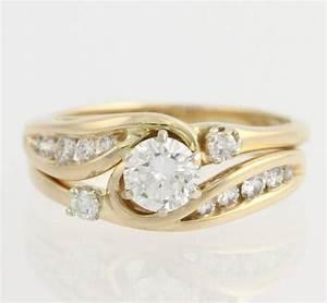 diamond engagement ring wedding band wrap set 14k With wedding ring wrap set