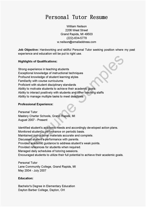 How To Write Tutoring On A Resume by Resume Sles Personal Tutor Resume Sle