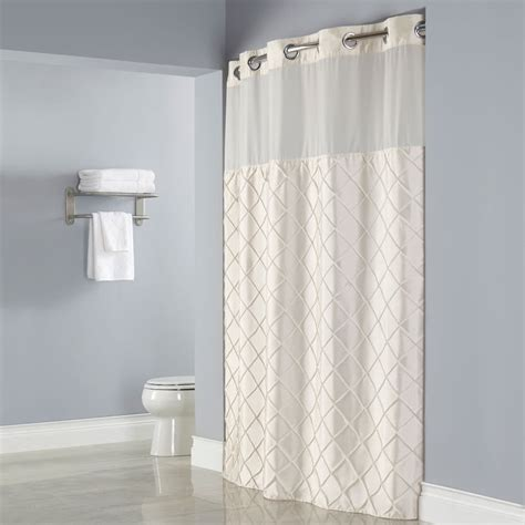 hookless beige pintuck shower curtain with chrome raised