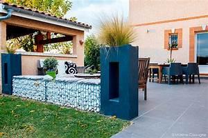 banquette gabion galets blanc terrasse repas amenagement With amenagement de terrasse exterieur 11 terrasse piscine galets