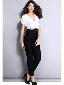 Combinaison Femme Noir Et Blanc : v tements femme combi pantalon glamour noir et blanc ~ Melissatoandfro.com Idées de Décoration