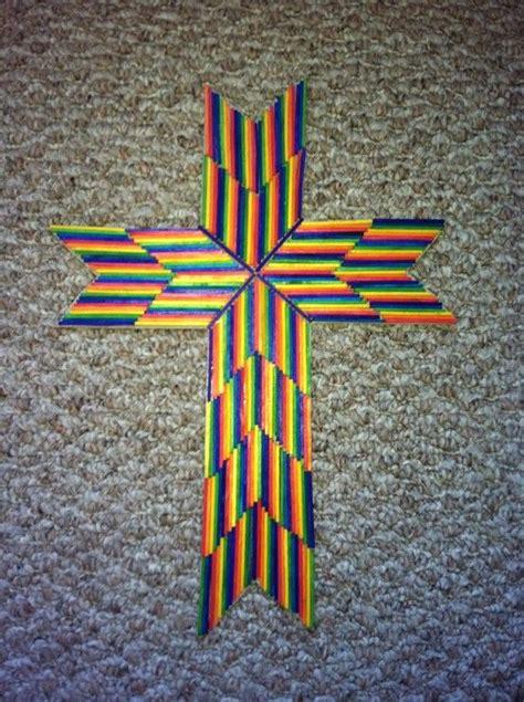 match stick cross craft rainbow style