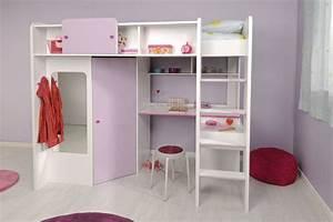 Lit Bureau Fille : lit mezzanine mistergooddeal demoiselle lit mezzanine 90 x 200 cm ~ Teatrodelosmanantiales.com Idées de Décoration
